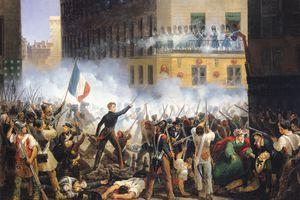 Battle in the rue de Rohan, 28th July 1830, 1831 (oil on canvas)