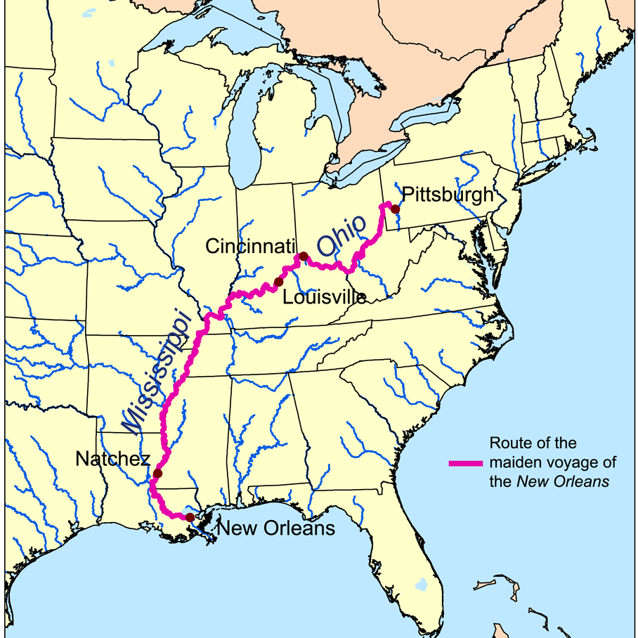 Map showing the route of the maiden voyage Robert Fulton's steamboat New Orleans.