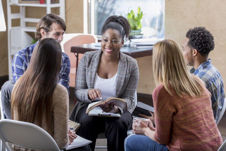 Woman Leads Diverse Bible Study Group