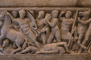 A Roman marble sarcophagus depicting scenes from the Trojan War