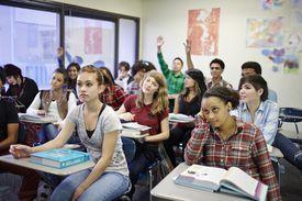 Classroom full of teenage students