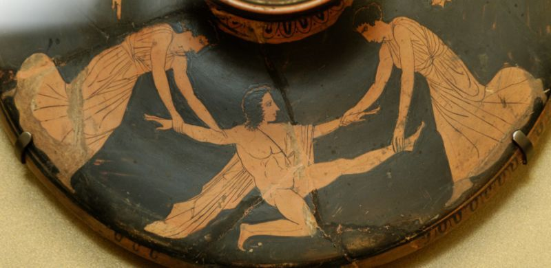 Pentheus torn apart by Agave and Ino. Attic red-figure lekanis lid, c. 450-425 B.C.