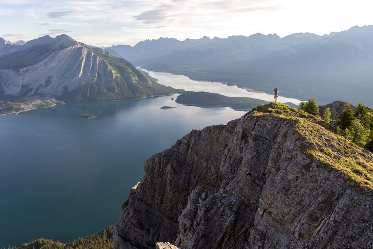 Breathtaking view at sunrise of Kananaskis Lake from peak of hike, Alberta, Rocky Mountains, Canada, North America