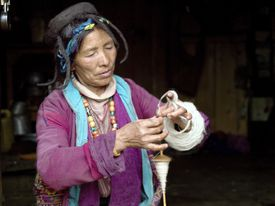 A Brokpa woman spinning sheep wool using a drop spindle known as a Yoekpa