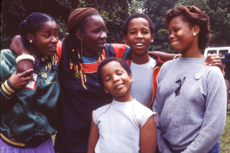 Rita Marley With Her Children In Central Park, New York City.