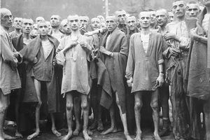 Starved prisoners, nearly dead from hunger, pose in concentration camp May 7, 1945 in Ebensee, Austria.