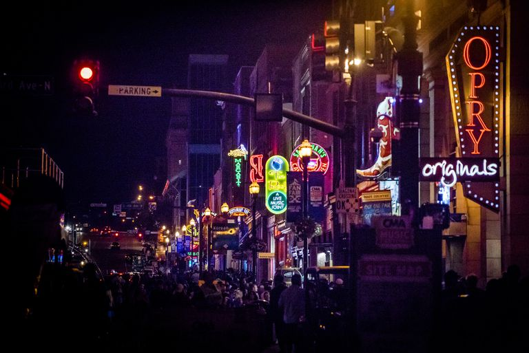 Neon signs on Lower Broadway (Nashville) at Night