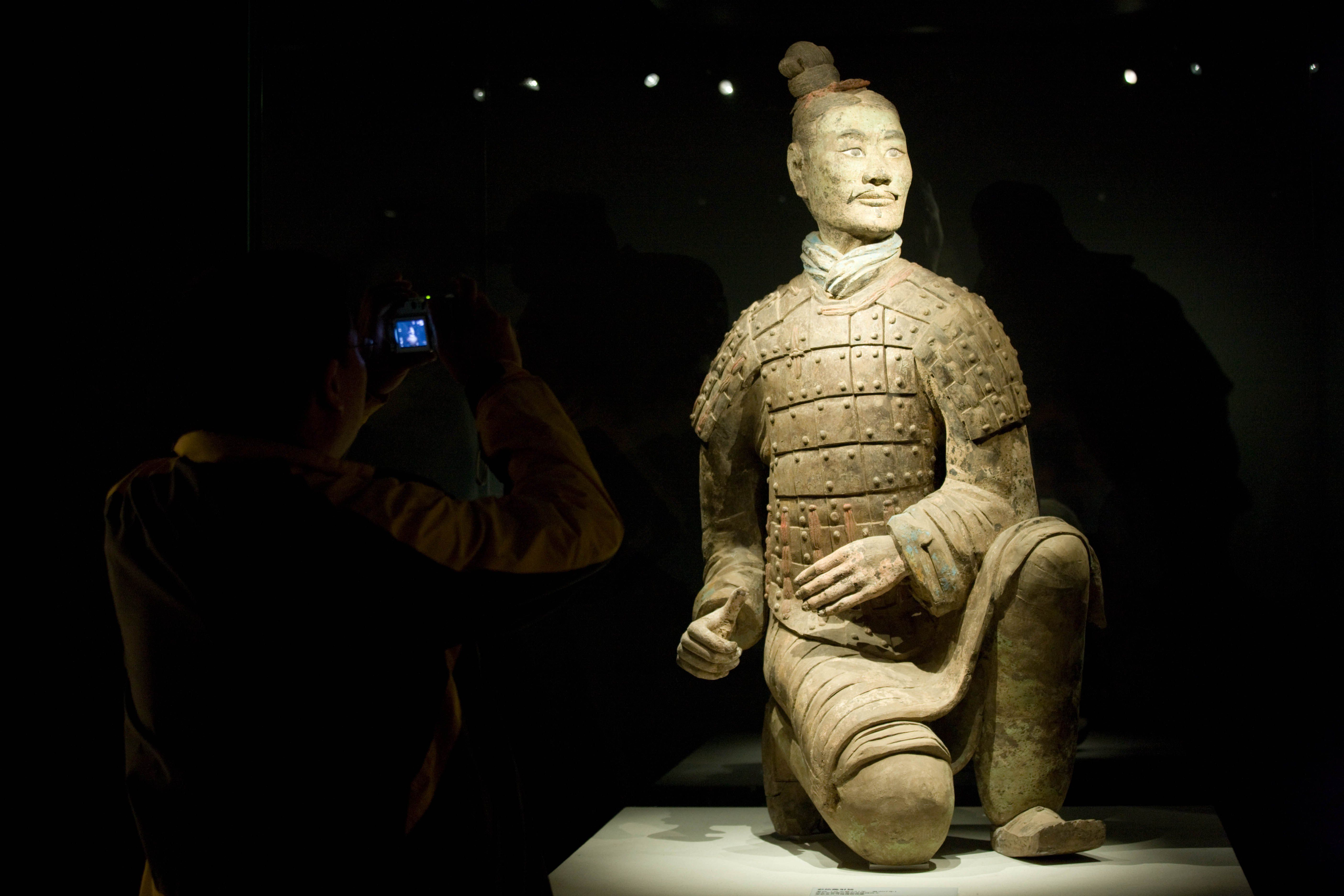 Close up view of an individual terracotta warrior.
