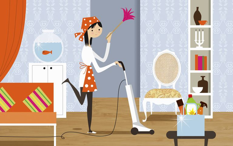 A stylized illustration of a housewife vacuuming and dusting her home