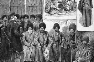 A Russian officer negotiates with a group of Turcoman (Turkmen) elders