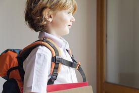 Boy prepared for school