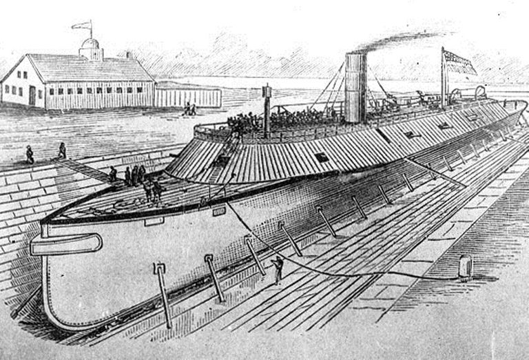USS Virginia (USS Merrimack) in drydock.