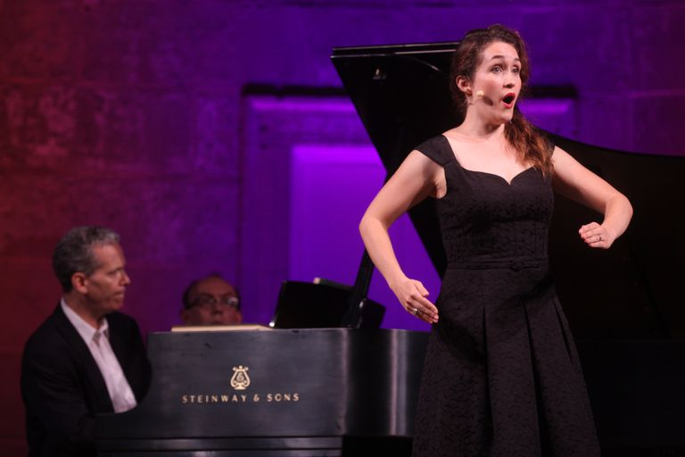 Erin Morley, with Brian Zeger on piano, performing aria from Offenbach's opera, Les contes d'Hoffmann, at the Concert in Honor of Richard Tucker's 100th Birthday in Central Park's Naumburg Bandshell in New York City on Wednesday night, August 28, 2013.