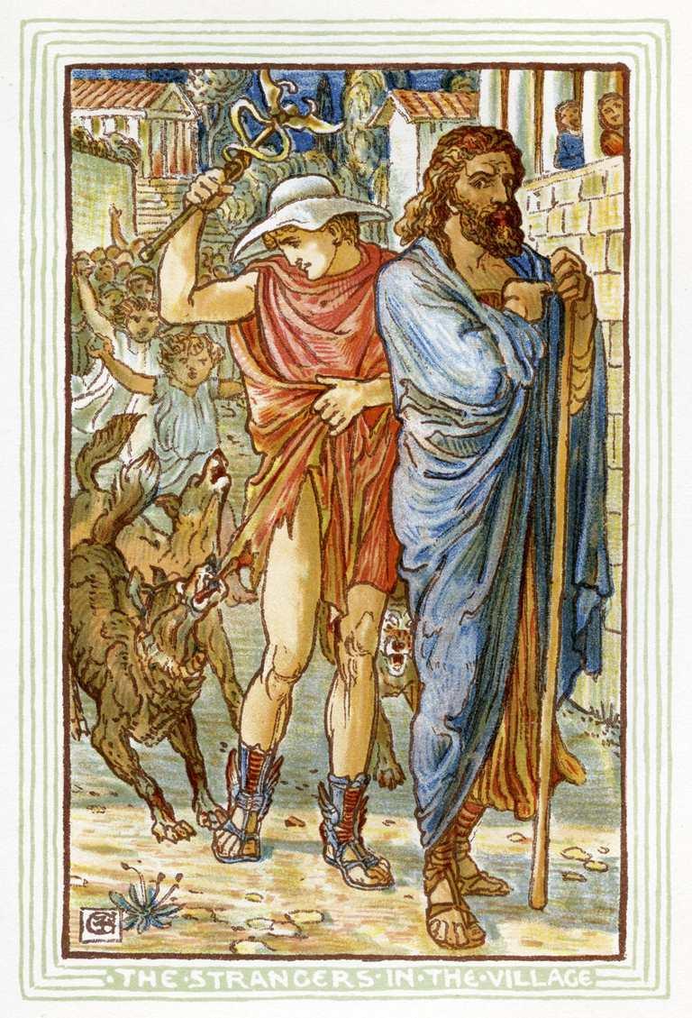 Zeus and Hermes disguised as peasants