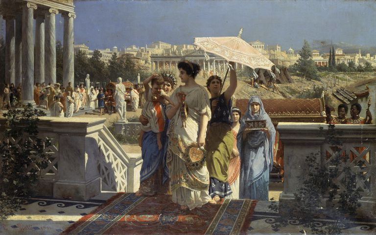 Scene of ancient Rome, 1901, by Prospero Piatti (1842-1902), oil on canvas, 66.5x105 cm