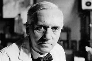 Picture of Sir Alexander Fleming, who discovered penicillin.