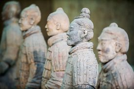 Close up of Terracotta Army statues in Xian, Shaanxi, China
