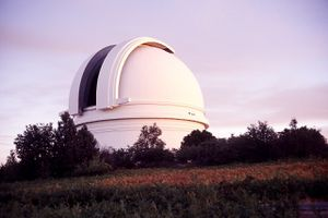 The dome of the 200-inch Hale Telescope at Palomar Observatory.