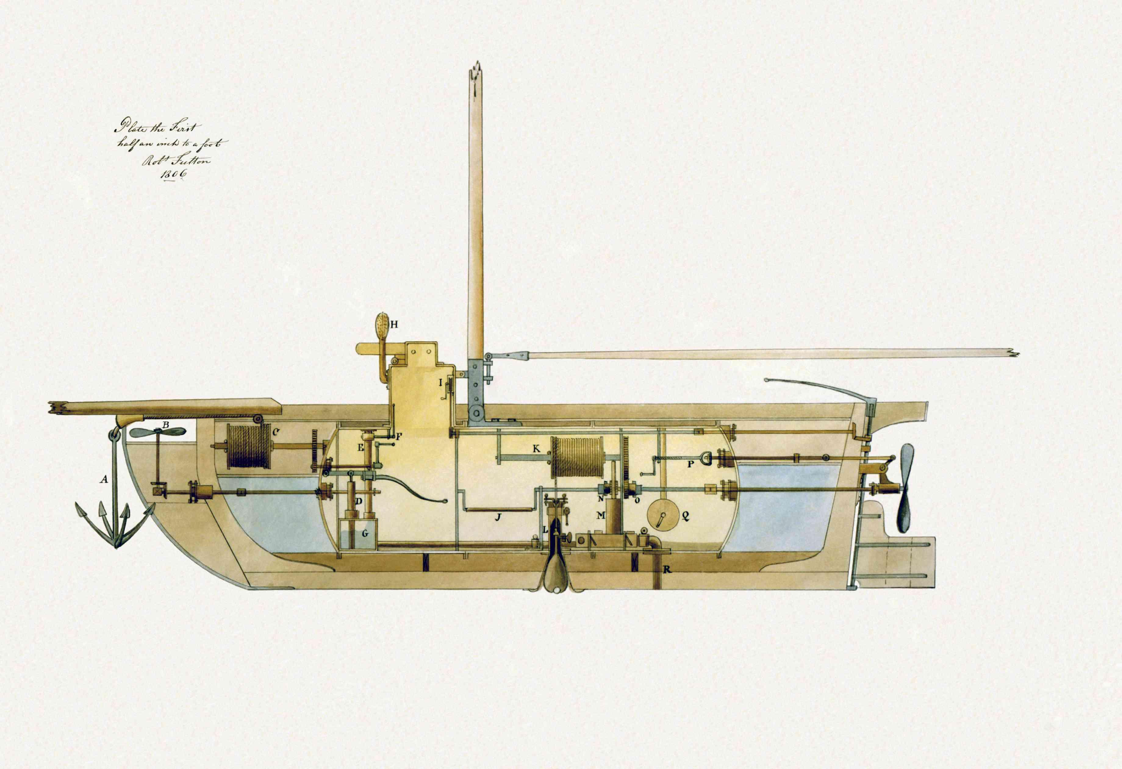 Drawing of inventor Robert Fulton's submarine Nautilus