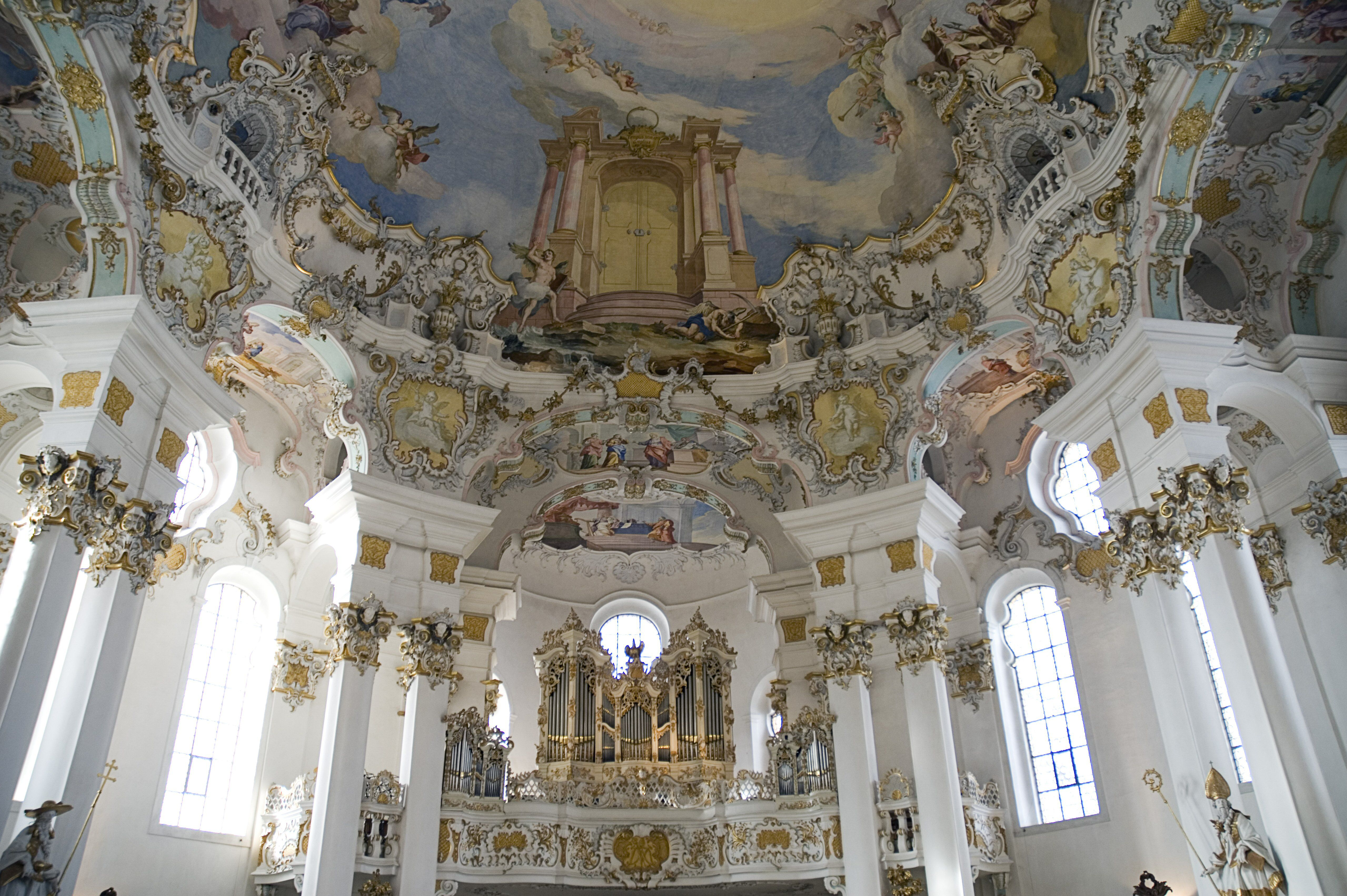 Germany, Bavaria, Wieskirche church interior view of the church organ and frescoes on ceiling depicting Door of Heaven / Paradise