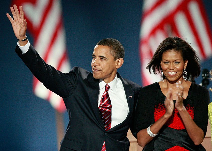 michelle obama dress and jewelry election night