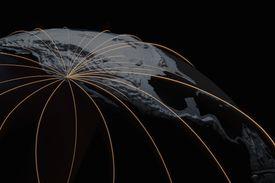 Light Trails Over Globe