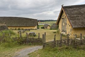 Reconstructed Viking farm with nine houses