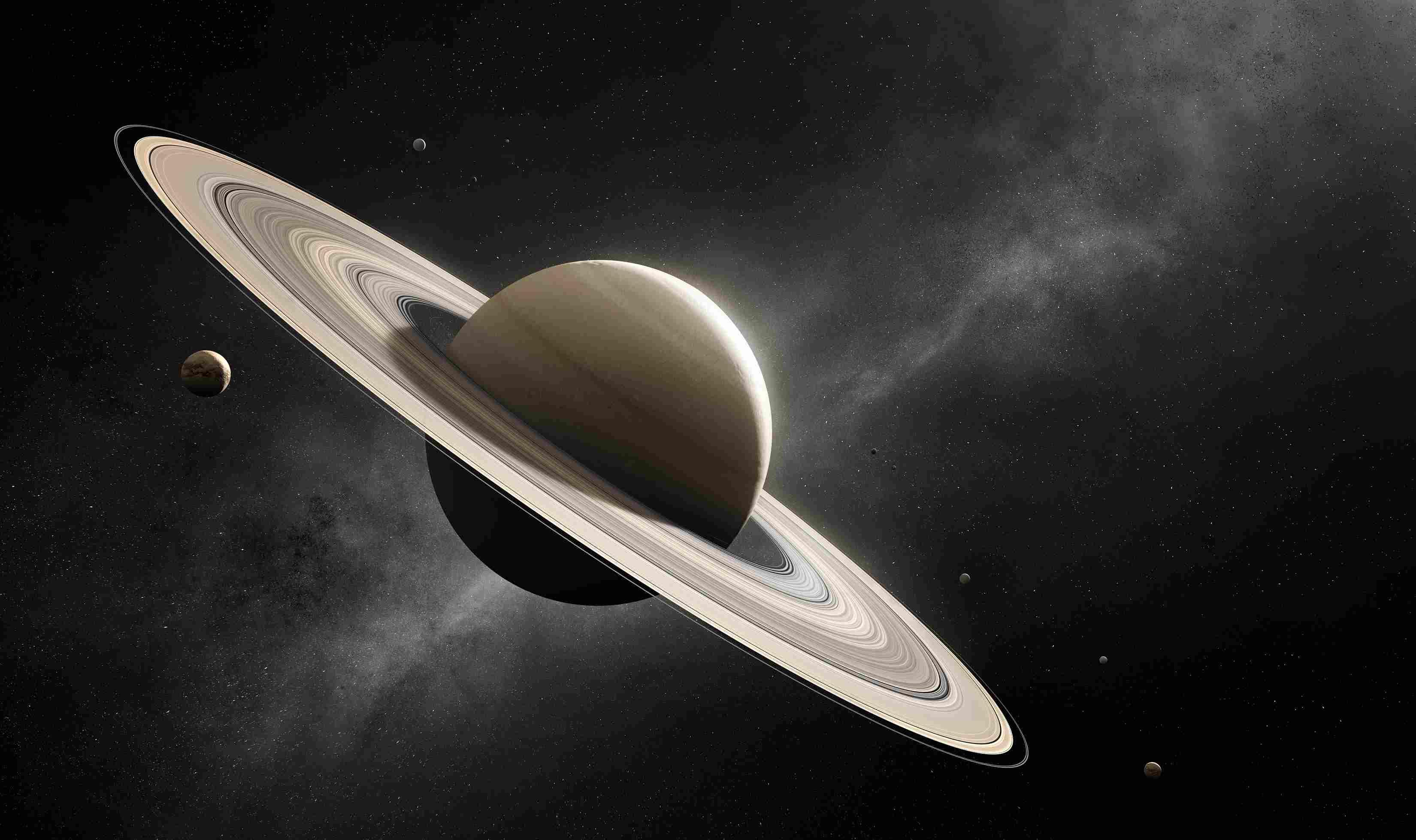 Artist rendering of Saturn in space.