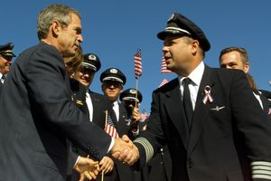 President George W. Bush meets with the military regarding the War on Terror.