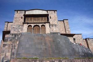 View of the Qorikancha in Cuzco, Peru from below