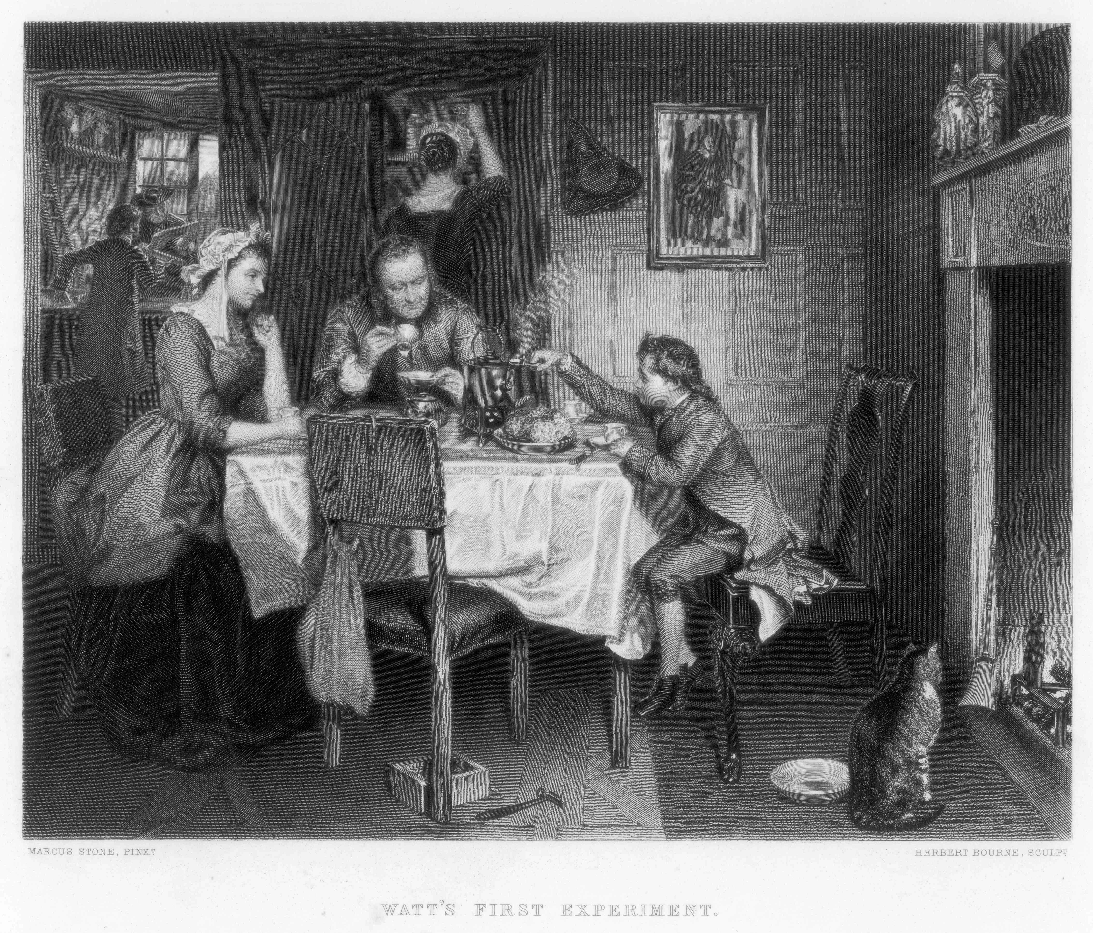 'Watt's First Experiment', 18th century, (c1870). Artist: Herbert Bourne