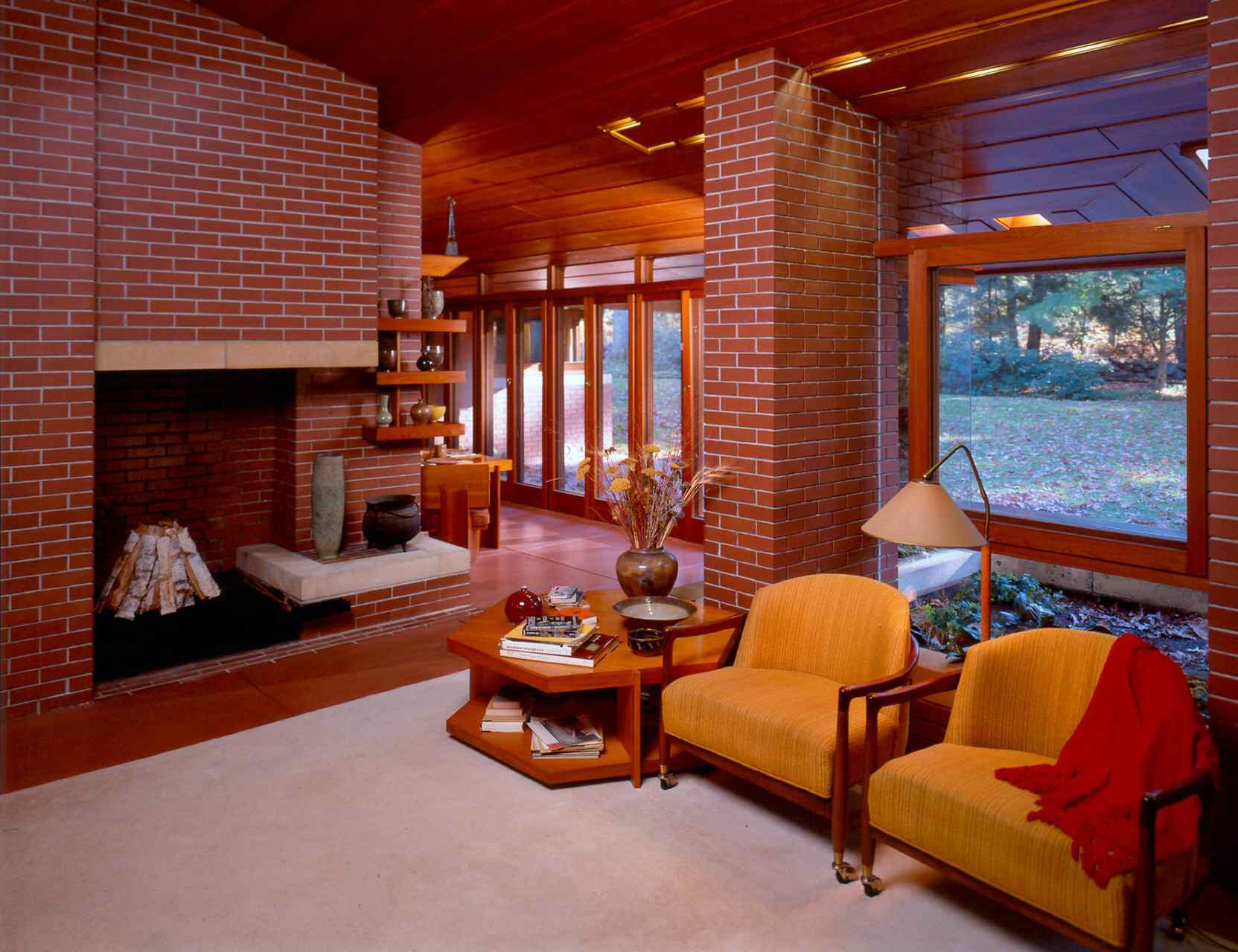 The furnishings are part of the architectural design at the Zimmerman house by Frank Lloyd Wright