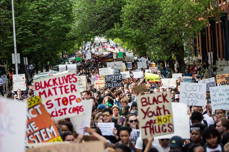 Black Lives Matter protest -- Justice for Freddie Gray April 29, 2015 in Baltimore, Maryland.