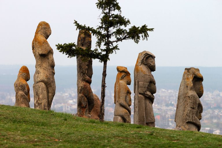 Scythian kurgan anthropomorphic stone sculptures in Izyum, Eastern Ukraine