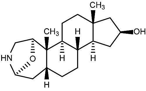 Esta es la estructura química de la samandarina.