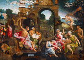 Saul and the Witch of Endor, 1526. Artist: Cornelisz van Oostsanen, Jacob (ca. 1470-1533)