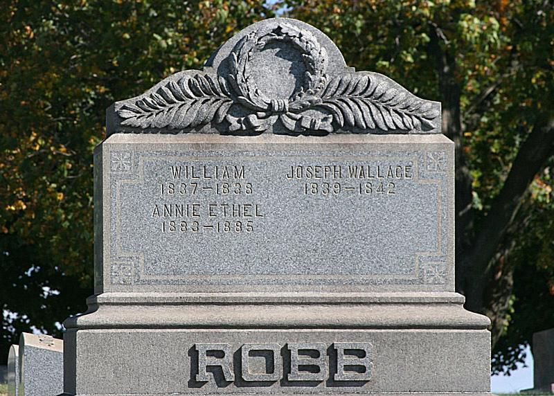 Symbol of a laurel wreath on the Robb family tombstone, Robinson's Run Cemetery, South Fayette, Pa