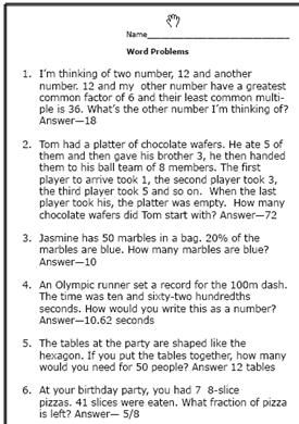 6th grade math word problems ibookread Read Online