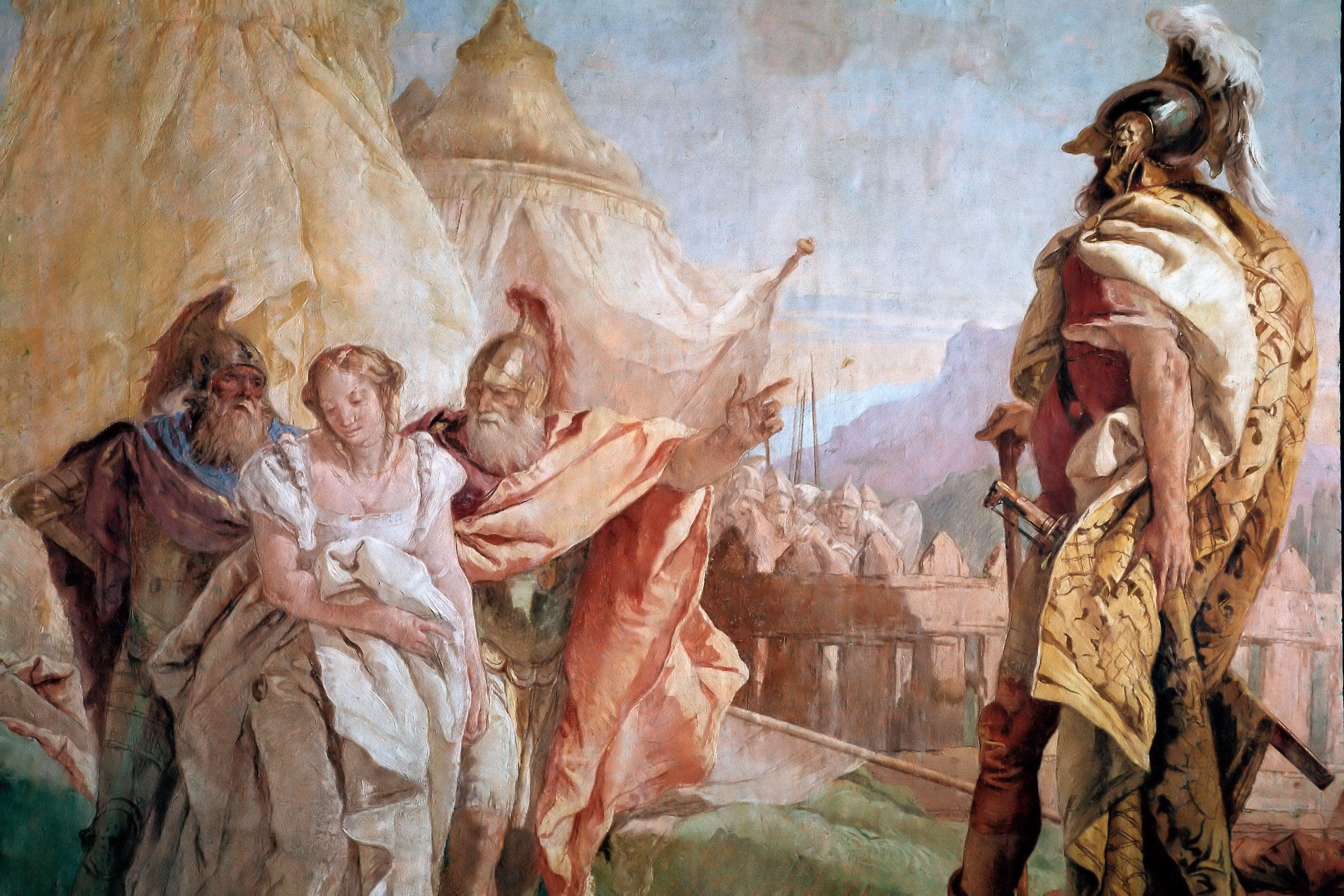 Eurybates und Talthybios führen Briseis nach Agamemmon