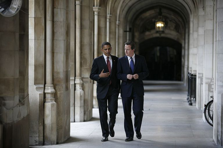 Barack Obama and David Cameron walking and talking
