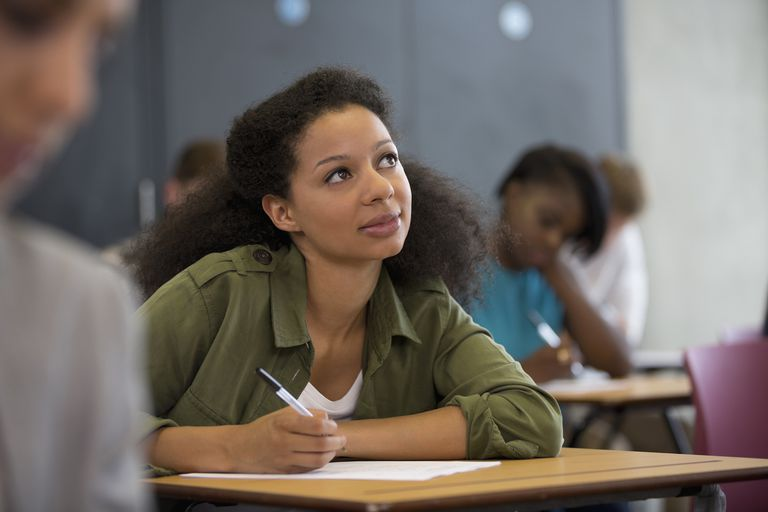 University student looking up during exam