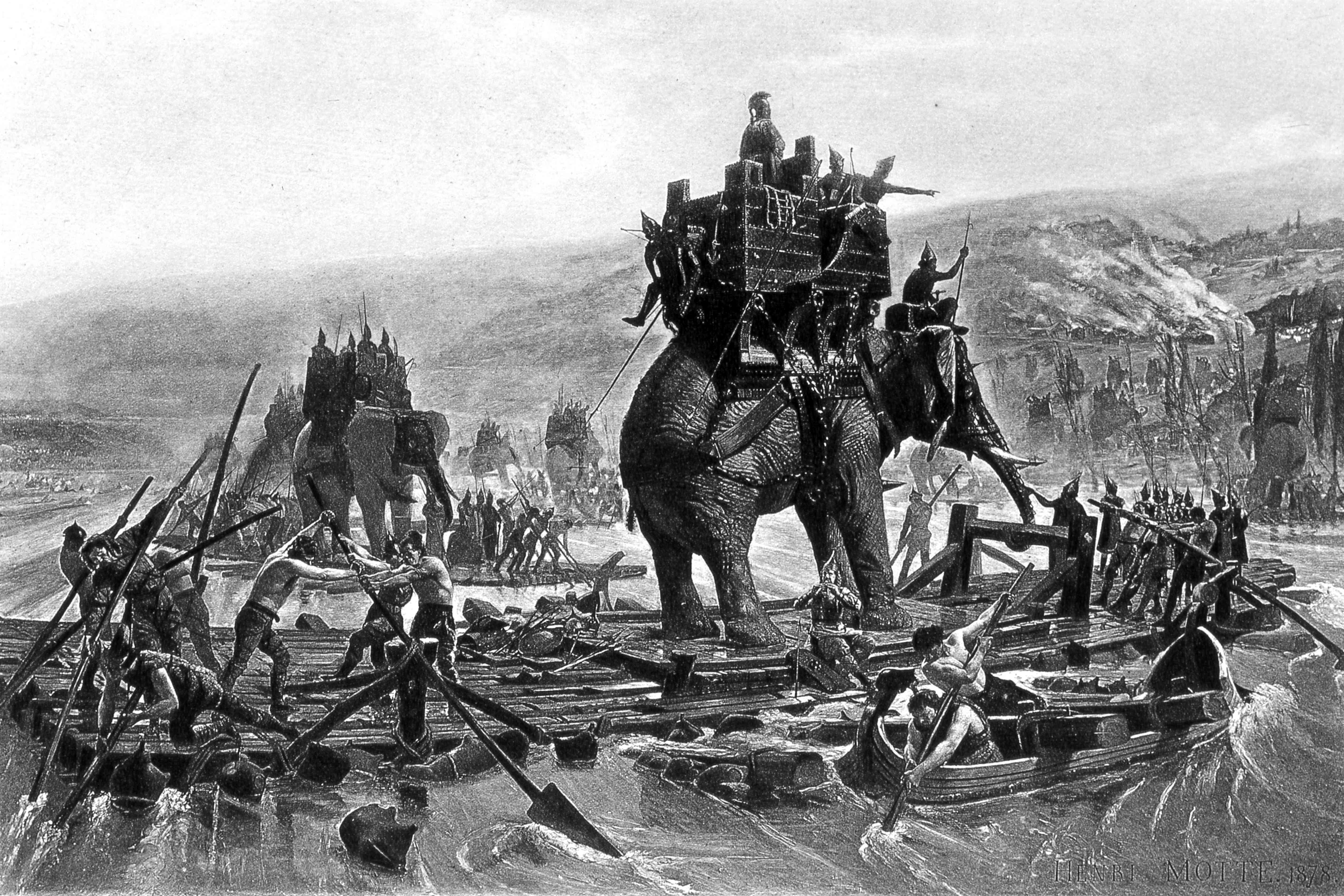 Hannibal crossing the Rhone River on an elephant