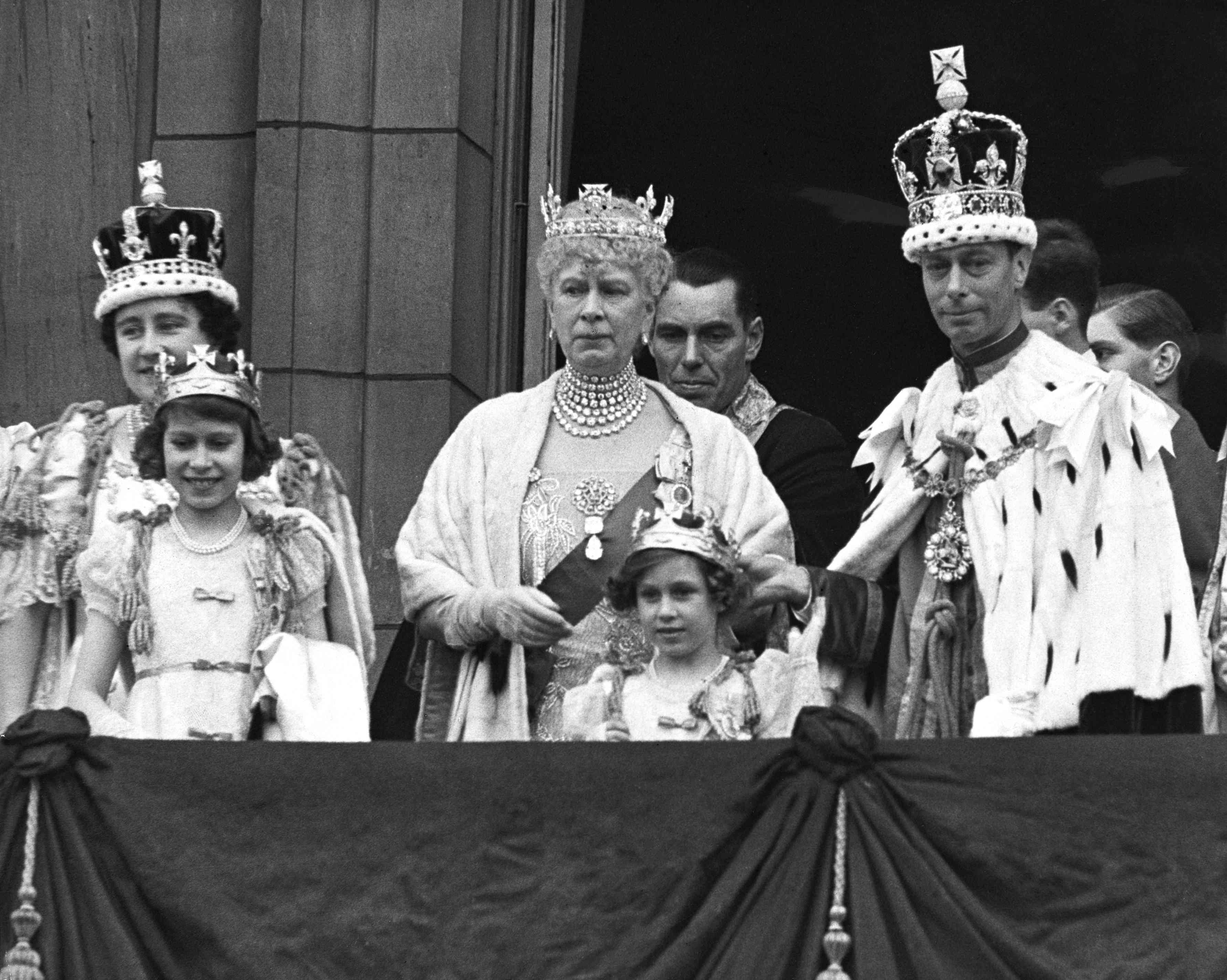 Queen Mary and family at the coronation of George VI