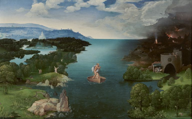 Artist depiction of crossing the River Styx, color painting.