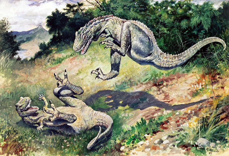 """An 1897 painting of """"Laelaps"""" (now Dryptosaurus) by Charles R. Knight"""