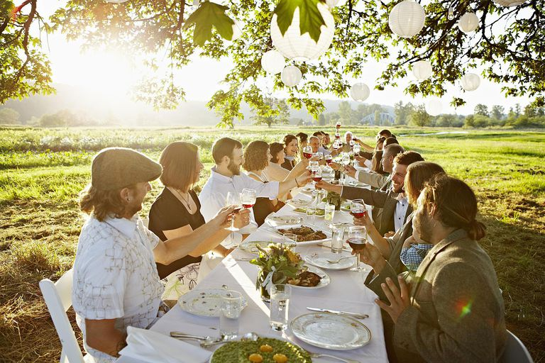 Group toasting at table outside in a field.