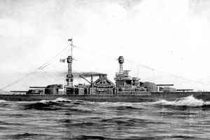 Artwork by F. Muller, circa 1920. The ships of this class, whose construction was cancelled in 1922 under the terms of the Naval Limitations Treaty, were: South Dakota (BB-49); Indiana (BB-50); Montana (BB-51); North Carolina (BB-52); Iowa (BB-53); Massachusetts (BB-54); U.S. Naval History and Heritage Command Photograph NH 44895