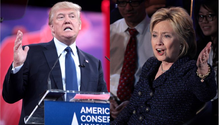 Donald Trump (left), Hillary Clinton (right) on the campaign trail during 2016 election.