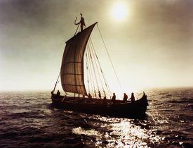 Viking ship in full sail on the Labrador Sea