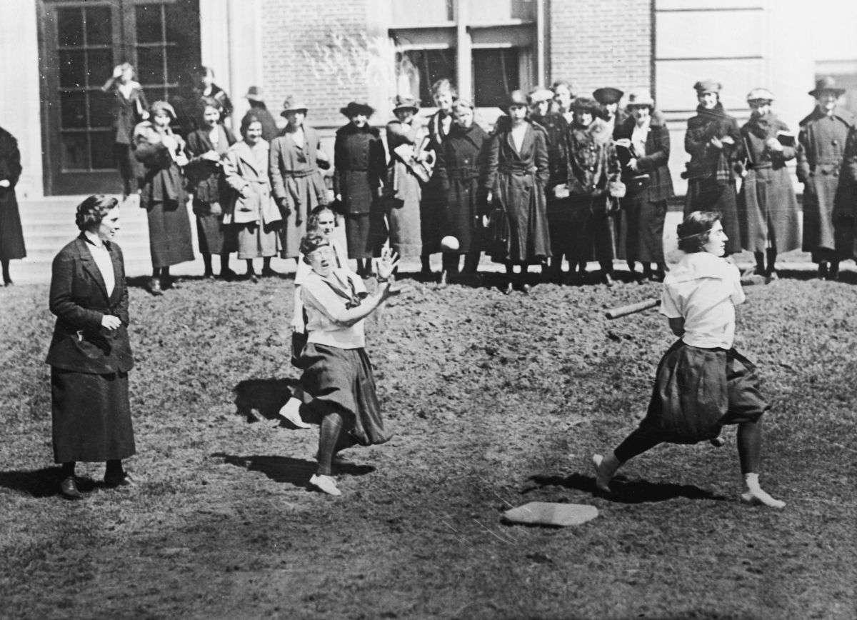 Barnard College Baseball Team training on the grass